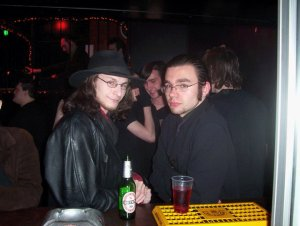 The Blogging Goth, right, at Spiders in 2005. Stereotypical Snakebite and Black is author's own.